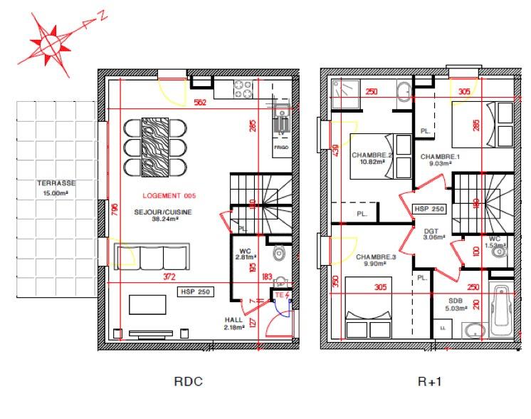 plan appartement duplex 60m2